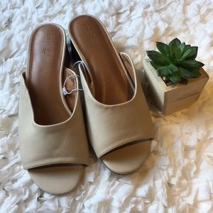 Faux leather slip on with block heel